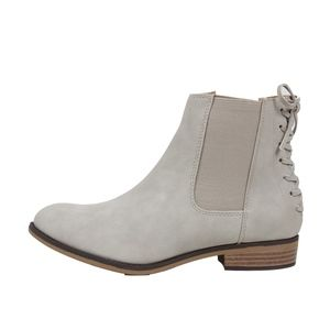 Grey Faux Leather Chelsea Elastic Side Ankle Boot